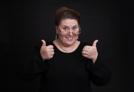 fat woman thumbs up
