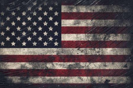 antiqued: Grunge USA Flag Stock Photo
