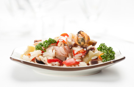 Rice with Seafood and vegetables photo