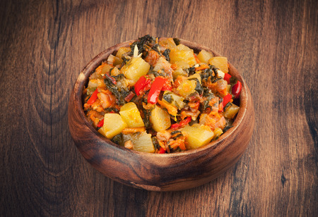 ragout: Vegetable Ragout in a wooden bowl Stock Photo