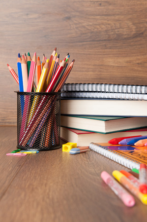 school band: assortment of school supplies Stock Photo