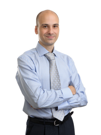 only 1 man: Portrait of young happy smiling business man, isolated over white background Stock Photo