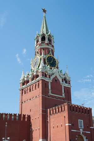 spasskaya: Moscow Kremlin, Red Square. Spasskaya clock tower Stock Photo