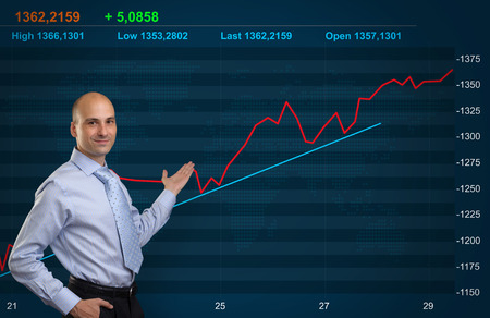 Trader and Stock market graph
