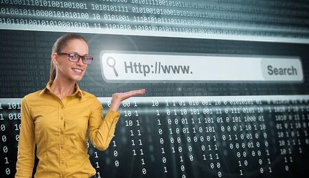 address bar: beautiful Woman and Computer Screen With Address Bar