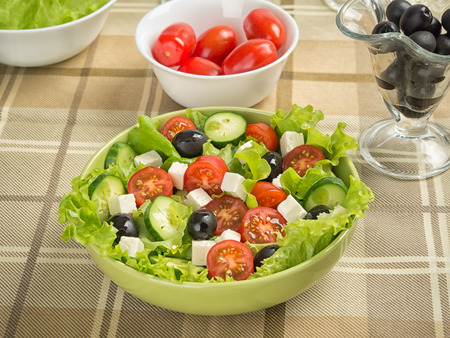 Greek vegetable salad with feta cheese photo