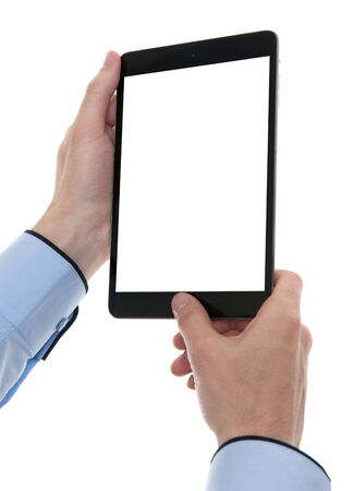 digital tablet in hands with copy space. Isolated photo