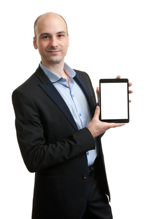 Business man holding digital tablet with a blank white screen photo
