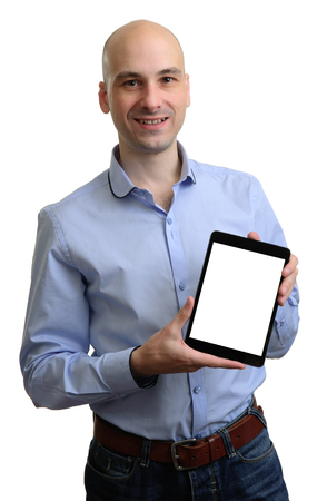 Happy man with tablet computer isolated over white photo