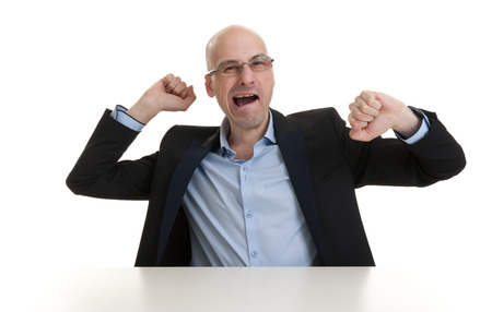 blase: portrait of sleepy bald business man yawning - isolated