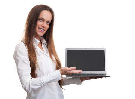 Businesswoman with laptop computer isolated on white background photo