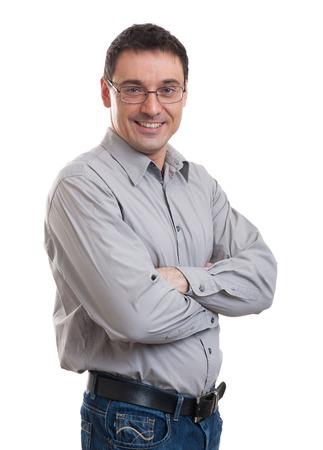 beau jeune homme d'affaires caucasien confiant posant isolé sur blanc Banque d'images