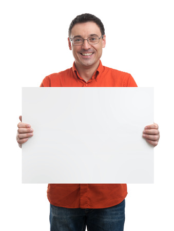 blank  banner: Happy young man showing and displaying placard ready for your text