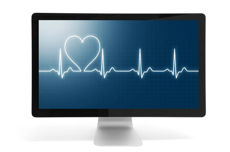 beat: heart beat on computer monitor. Isolated over white background