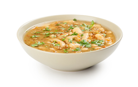 beans soup: bean soup in a bowl. Isolated over white