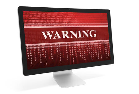 warned: warning message in computer monitor. Isolated over white