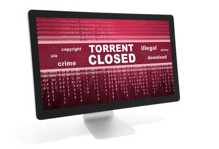 torrent: torrent closed message in computer monitor. Isolated over white Stock Photo