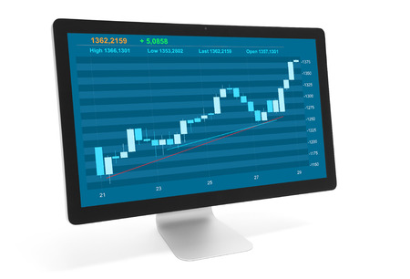 technology market: stock market diagram in computer monitor. Isolated on white background
