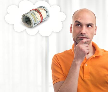 mucho dinero: Retrato de hombre guapo sue�a con mucho dinero Foto de archivo