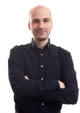 calvo: apuesto hombre calvo retrato aislado m�s de fondo blanco