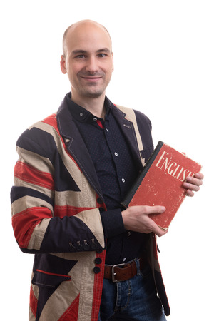learning english: Man learning English Isolated on a white background Stock Photo