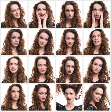 Collage of a young woman different emotions photo