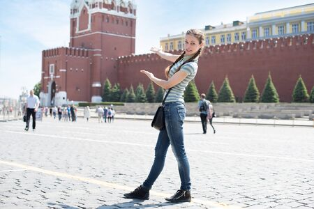 spassky: Young woman on Red Square in Moscow Stock Photo