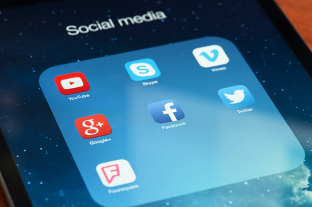 vimeo: MOSCOW, RUSSIA - APRIL 27, 2015: Social media icons on digital tablet.