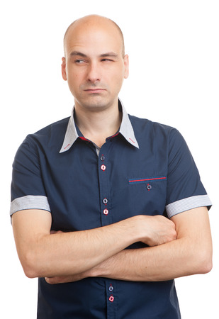 doubtful: Portrait of handsome young doubtful man isolated over white background