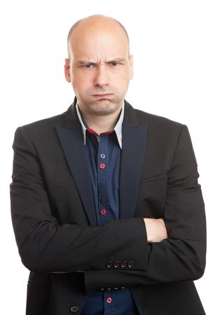 jefe enojado: empresario calvo enojado aislado en un fondo blanco Foto de archivo