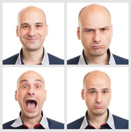 face expressions: young man face expressions composite isolated on white background