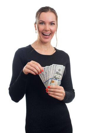 woman holding money: young business woman holding money isolated on white Stock Photo