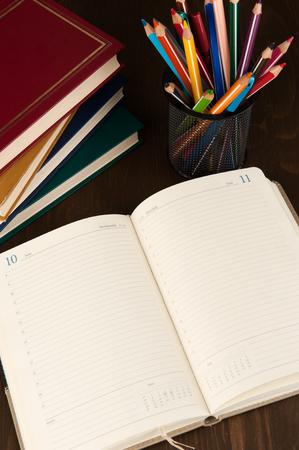 fournitures scolaires: fournitures hebdomadaires et de l'�ducation Blank close up Banque d'images