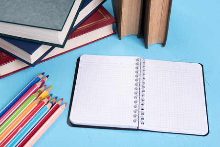 back to school supplies: Back to school still life. Education accessories Stock Photo