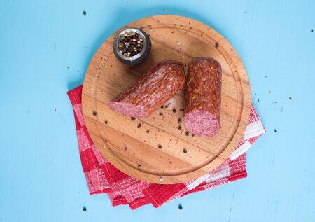 smoked sausage: close up of Smoked sausage with spices Stock Photo