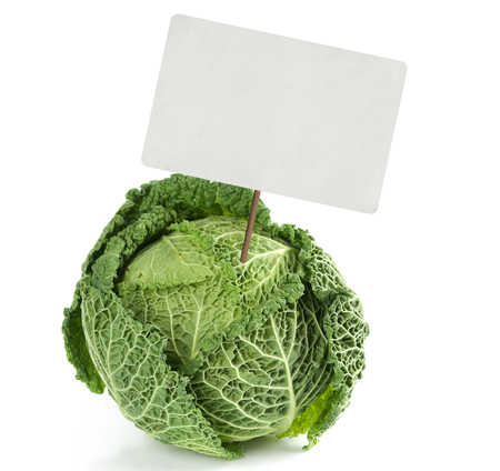savoy: savoy cabbage with price tag isolated on white
