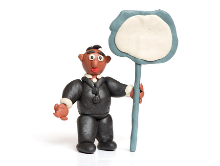 child's play clay: plasticine business man isolated on a white background Stock Photo