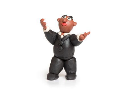 childs play clay: plasticine businessman looking up isolated on white Stock Photo