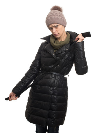 warm clothing: Woman wearing warm clothing, Jacket and Knit Hat. isolated Stock Photo