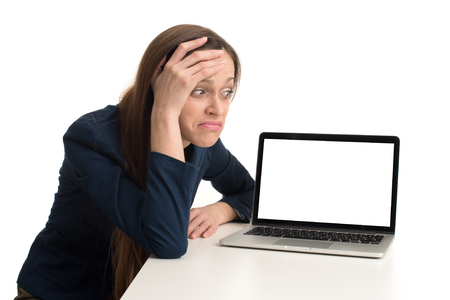 computer isolated: woman with a laptop - isolated over a white background