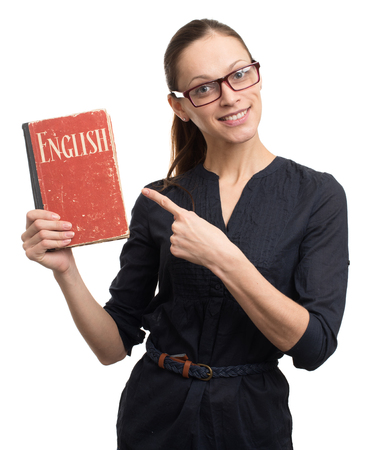 young woman holding a book. english learning concept Stock Photo