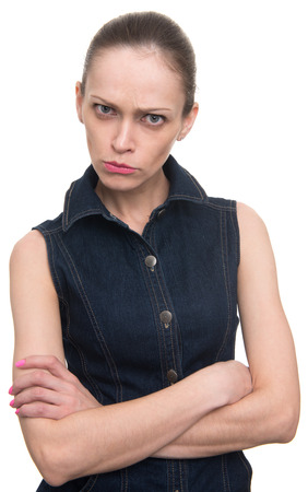 offended: angry offended woman looking at camera. Isolated