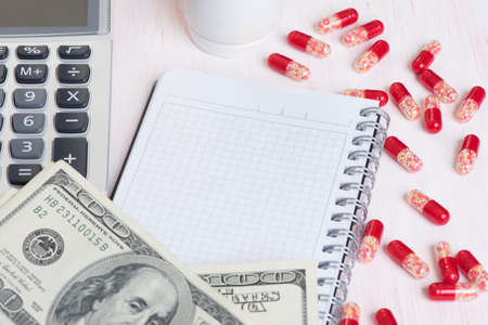 expensive: expensive medicine concept. Pills, money and calculator