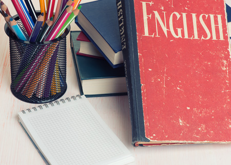 english book: learn English concept. Book and education supplies