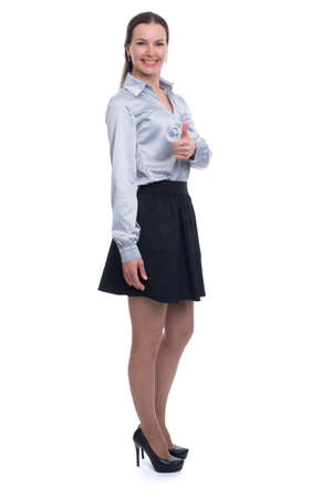 full length portrait: full length portrait of pretty woman isolated on white Stock Photo