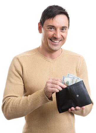 casual men: smiling man holding a wallet with money. Isolated over white background Stock Photo