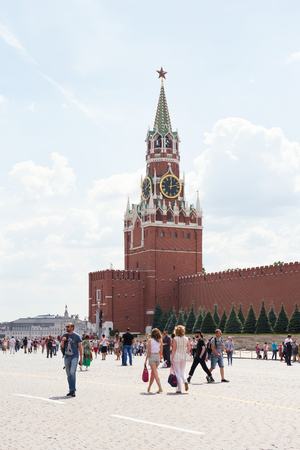 spassky: MOSCOW, RUSSIA - JUNE 24, 2016: Spasskaya Tower of Kremlin at Red Square