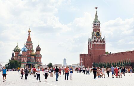 st  basil: MOSCOW, RUSSIA - JUNE 24, 2016: Kremlin and Cathedral of St. Basil at the Red Square
