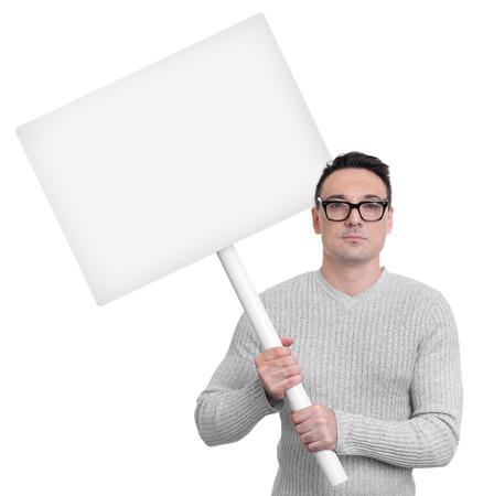 Protestare persona con il segno del picchetto isolato su sfondo bianco