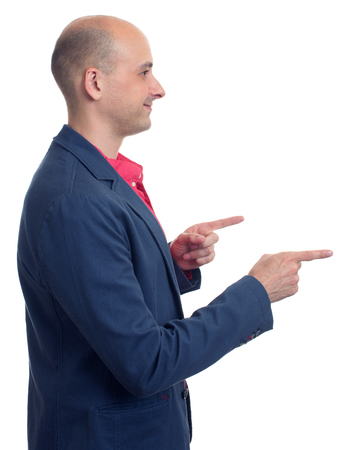 man profile: profile of bald man pointing finger. Isolated over white